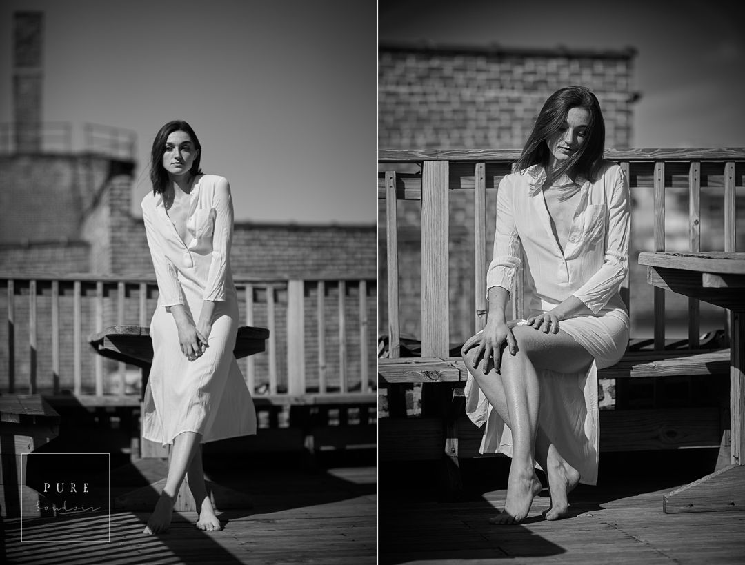 black and white outdoor boudoir session