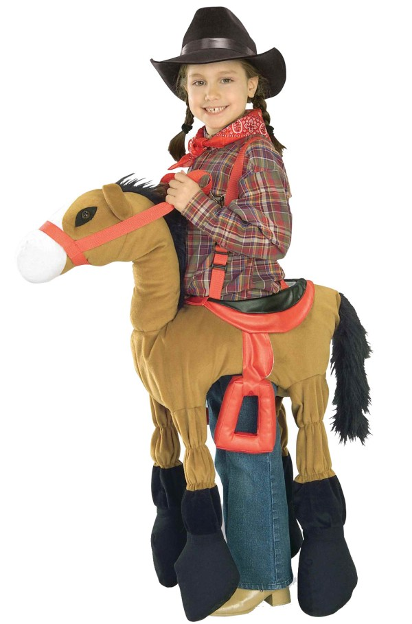 Western Cowgirl Cowboy Ride Pony Child Costume Brown
