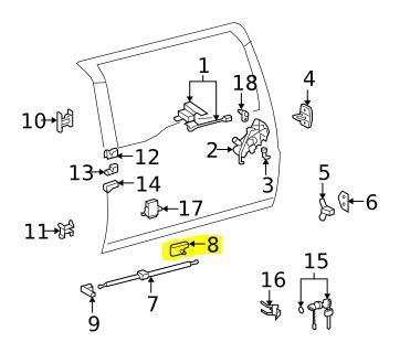FJ Cruiser Back Door Stay Rod/Cylinder [68907-35081