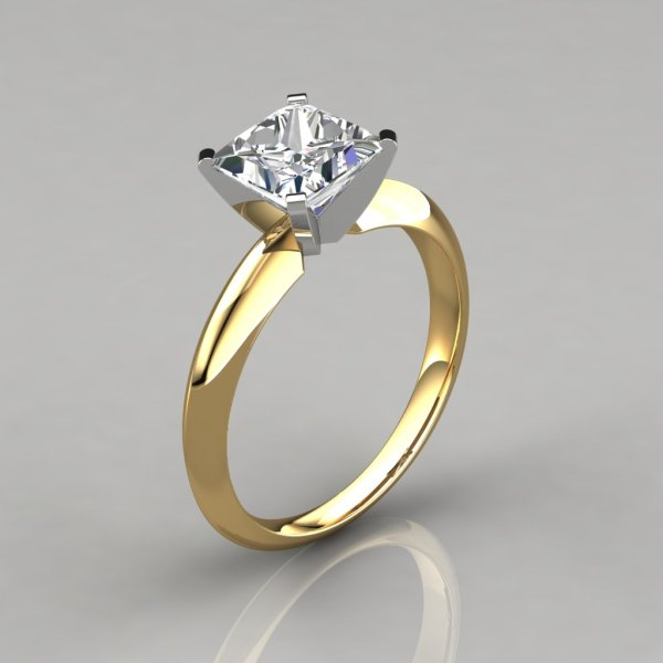 Classic 4 Prong Tiffany Style White Gold Engagement Ring