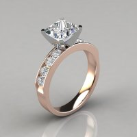 Princess Cut Channel Set Engagement Ring - PureGemsJewels