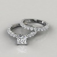 Princess Cut Shared Prong Engagement Ring and Wedding Band