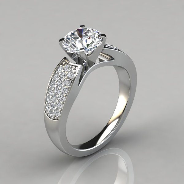 Wide Band Engagement Ring With Accents - Puregemsjewels