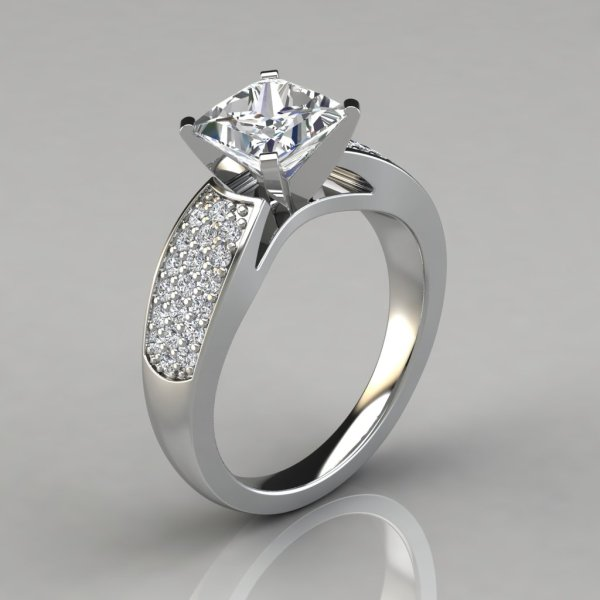 Wide Band Princess Cut Engagement Rings