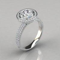 Trio Micro Pav Round Cut Halo Engagement Ring ...