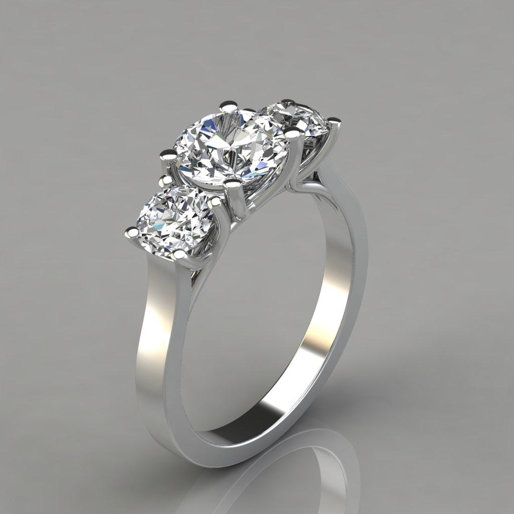 Three Stone Cross Prong Round Cut Engagement Ring