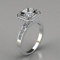Halo Style Princess Cut Channel Set Engagement Ring ...