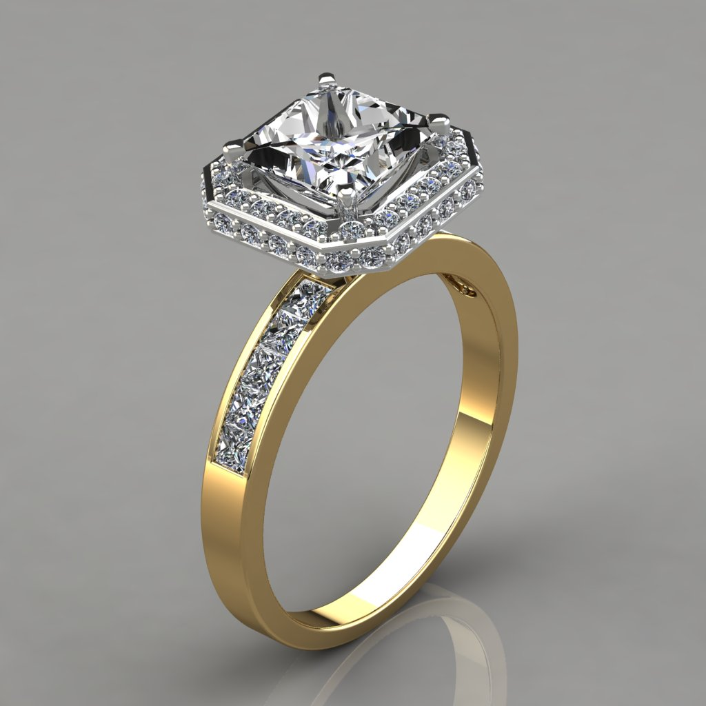 Halo Style Princess Cut Channel Set Engagement Ring