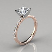 Princess Cut French Pave Engagement Ring 14k Gold ...