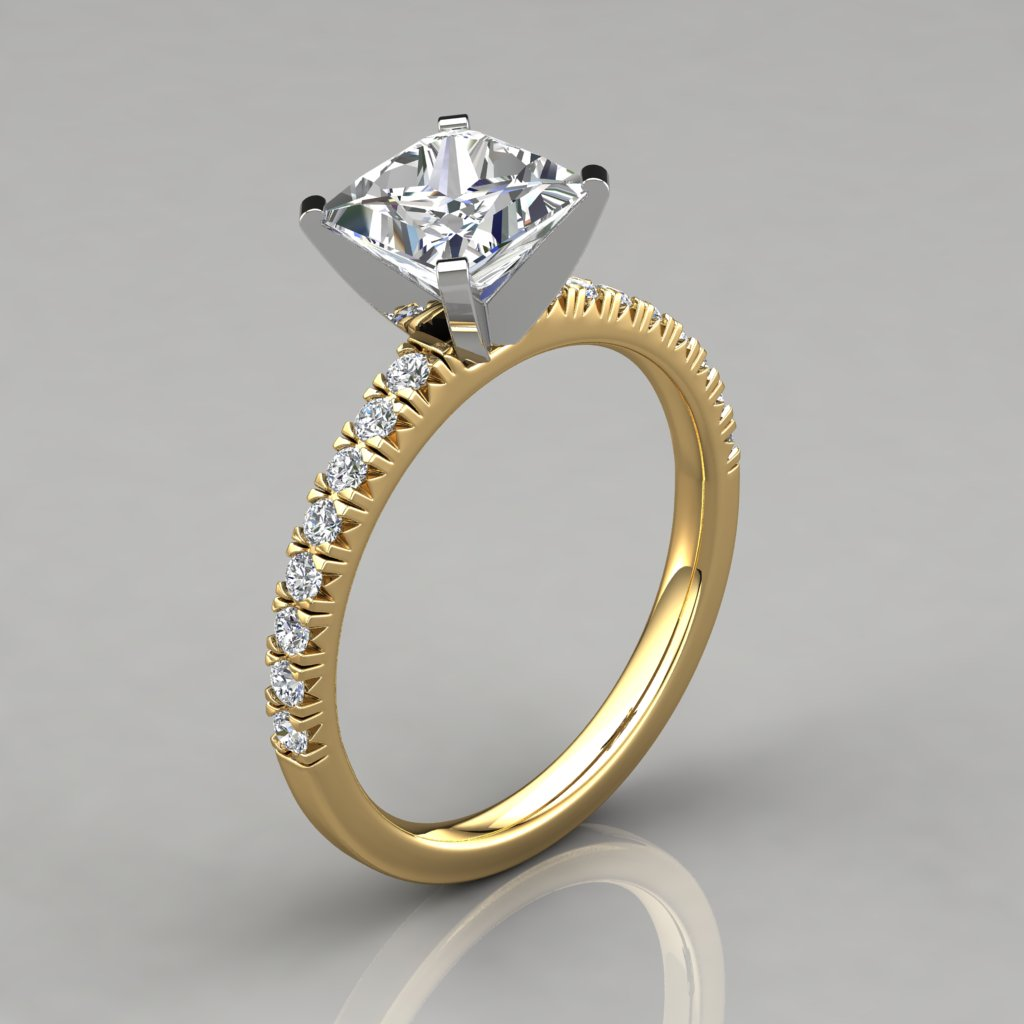 Princess Cut French Pave Engagement Ring 14k Gold