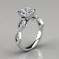 Infinity Design Princess Cut Engagement Ring - PureGemsJewels