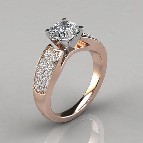 Wide Band Cushion Cut Engagement Ring - Puregemsjewels