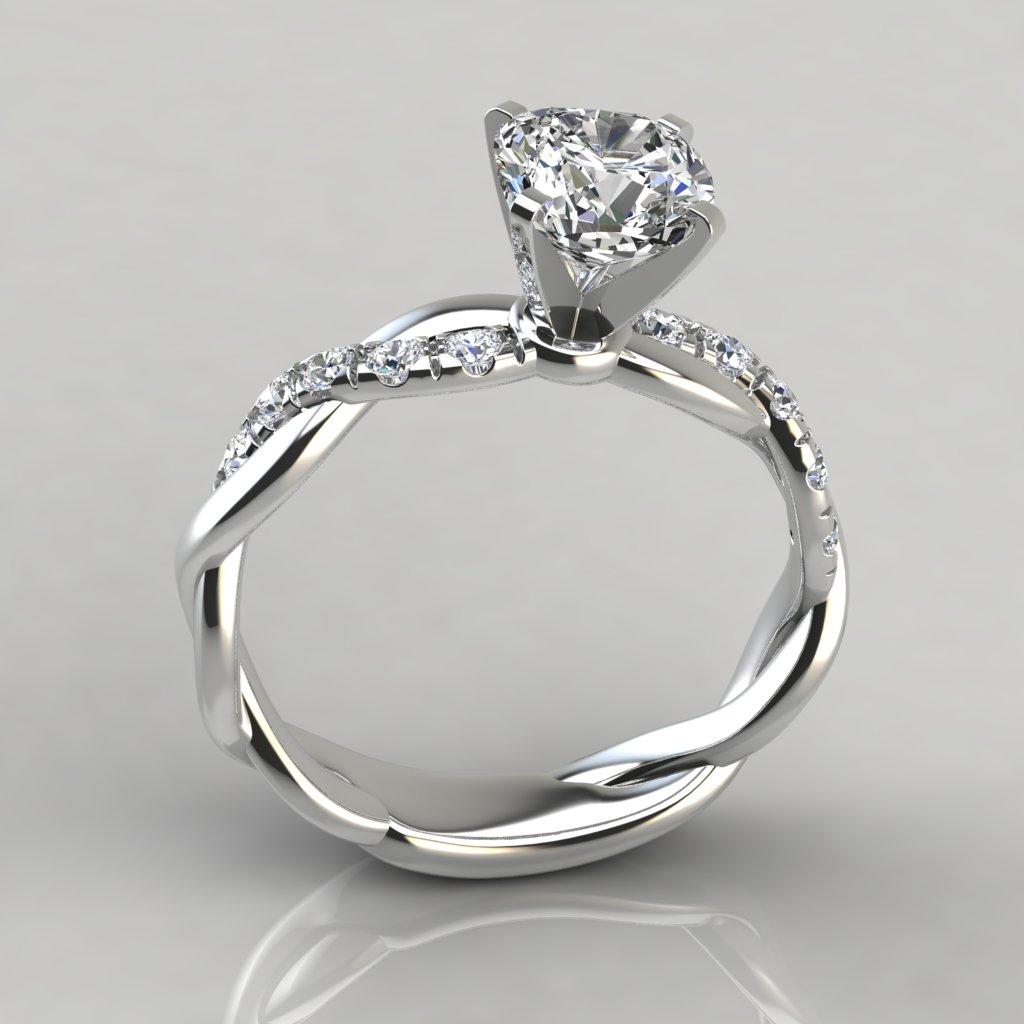 Twist Cushion Cut Engagement Ring  PureGemsJewels