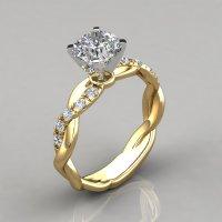 Twist Cushion Cut Engagement Ring - PureGemsJewels