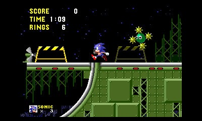 As seen in the above screen, the barriers in Star Light Zone appear in both the background and foreground