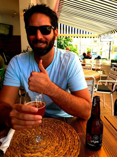 Dan taste testing microbrew