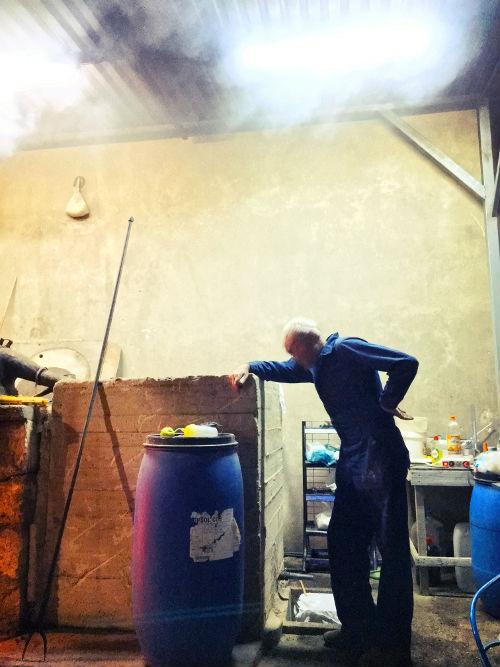 making traditional Raki in Greece