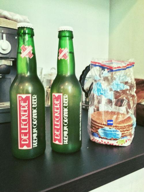 organic beer and stroopwaffel