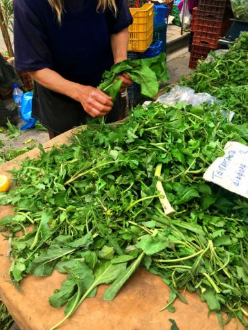 picking through wild herbs at the farmers market