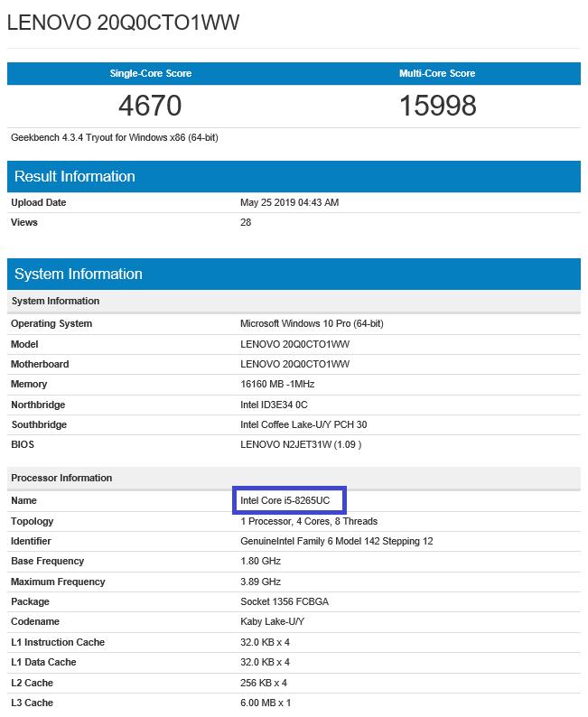 Intel Core i5-8265UC w bazie GeekBench oraz UserBenchmark | PurePC.pl