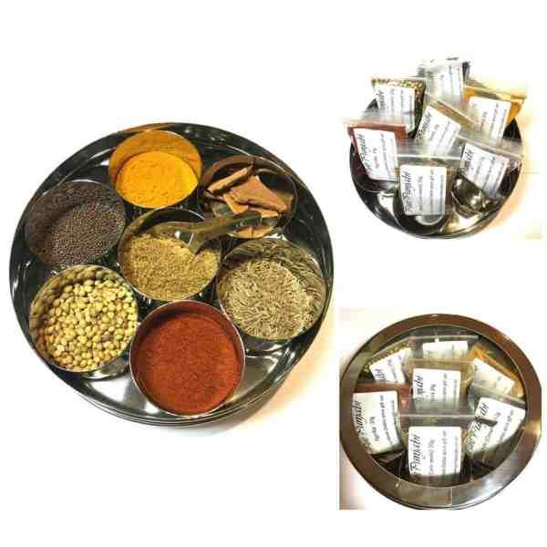 Masala dabba starter Spice tin Collage