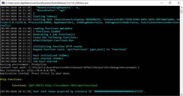 Azure Function is running