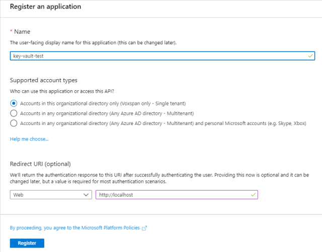Register an application in Active Directory