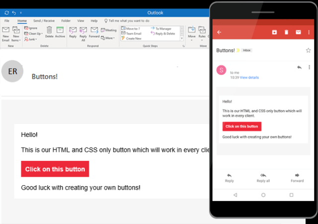 Email buttons with just HTML and CSS