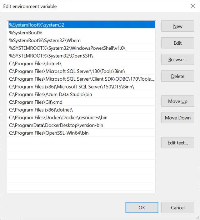 Edit environment variable on Windows 10