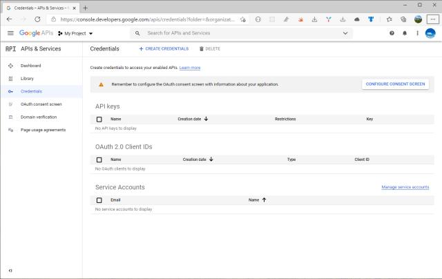 Console Developer Google website - APIs & Services