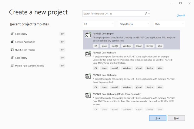 Create a new project with Visual Studio 2019 - Datatables in ASP.NET Core Server-Side