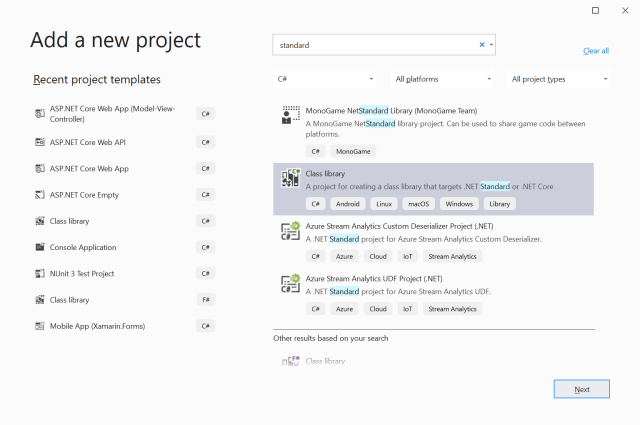 Add a new project in Visual Studio 2019 as .NET Standard - Setting up the application ASP.NET Core