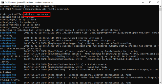 Command Prompt with Docker compose