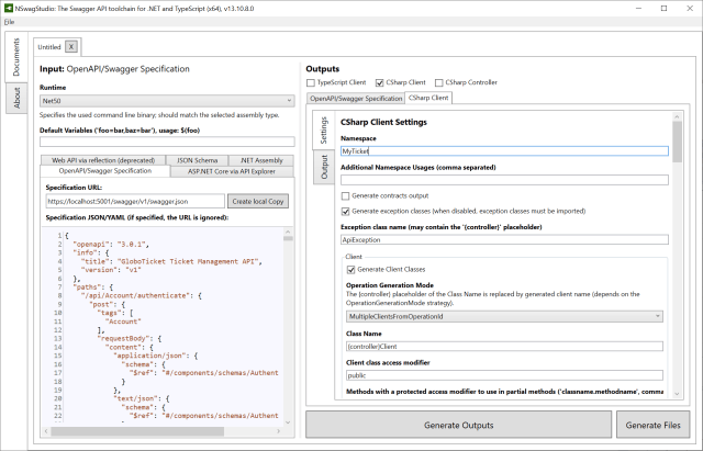 Configuration for NSwagStudio for CSharp Client Settings - How adding an UI built in Blazor