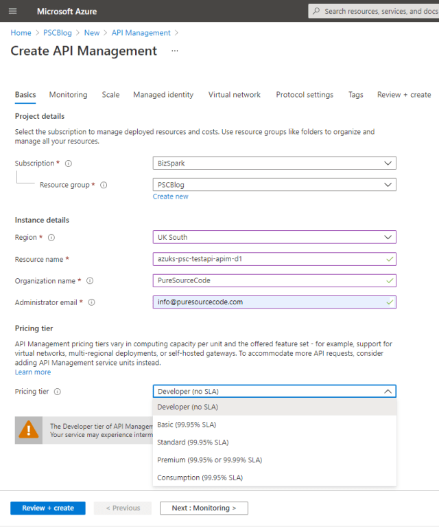 Create API Management: Basic tab - How to use an Azure API Management Service