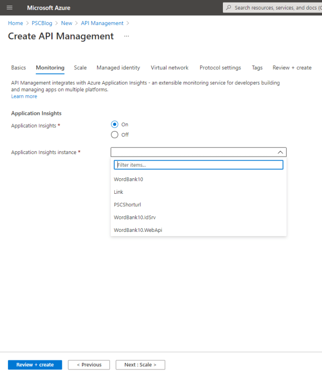 Monitoring with Application Insights - How to use an Azure API Management Service