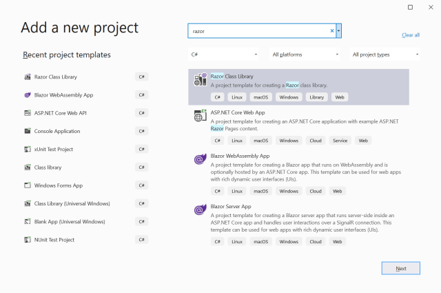 Add a new project for the Blazor component - Create a Blazor component for Quill