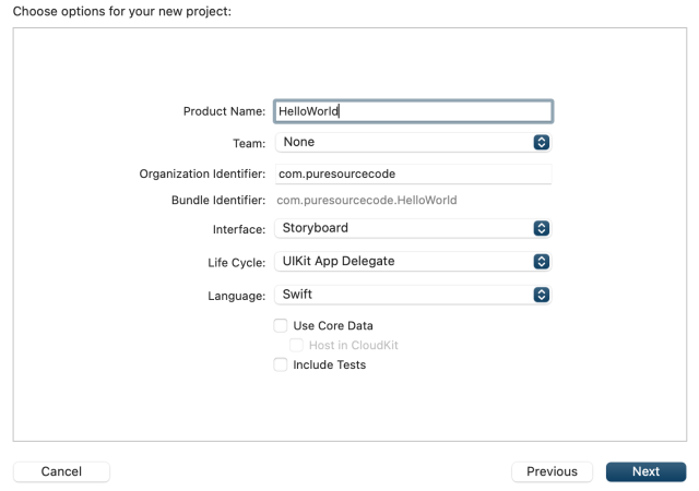 Xcode - Choose options for your new project - Hello World using Xcode and Swift