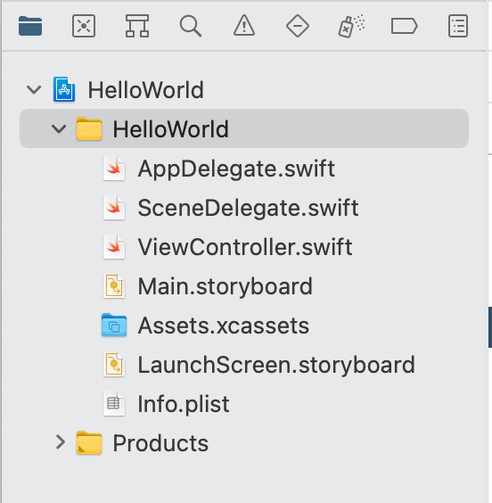 HelloWorld folder file structure - Hello World using Xcode and Swift