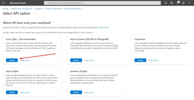 Cosmos DB: Select API option - Create a LogicApp to use CosmosDB