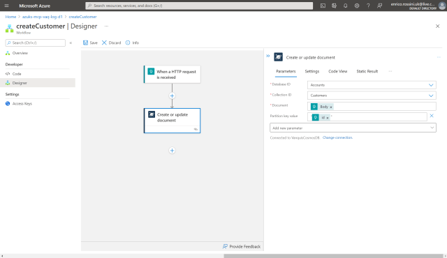 createCustomer: final configuration for Create or update document