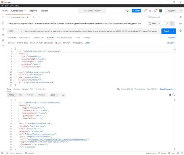 The request to the workflow with Postman