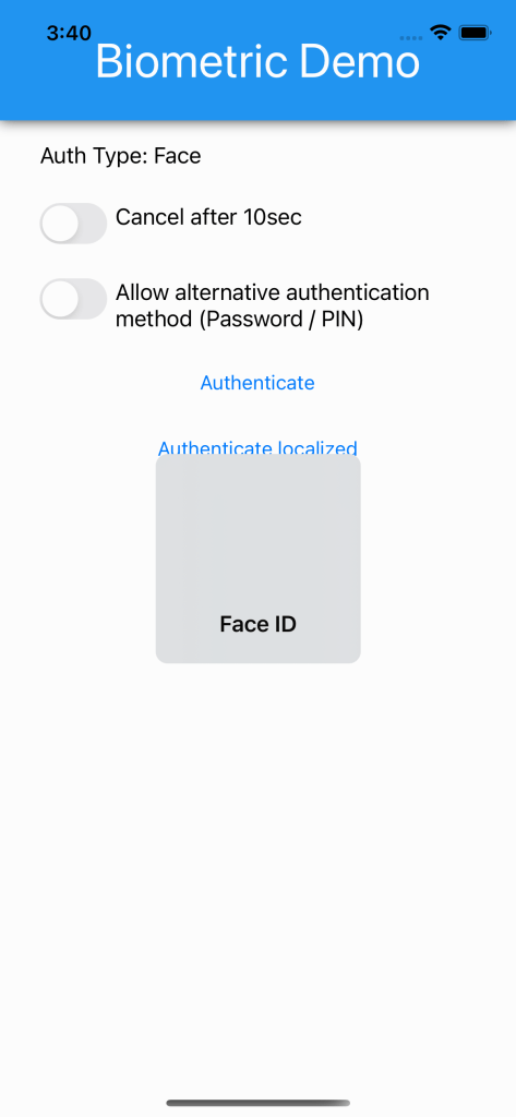 Face ID is waiting for facing recognition