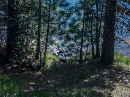 My fishing kayak just below my campsite