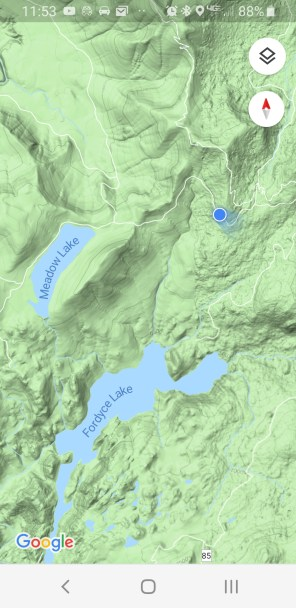 Blue dot is our view for pic of Fordyce lake