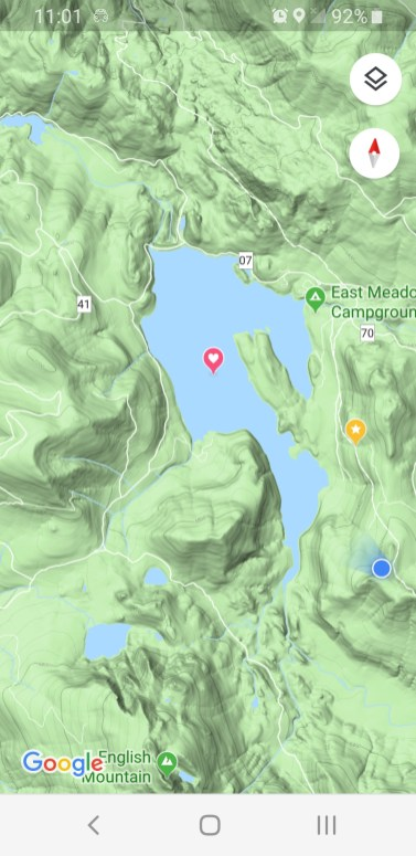 Charlie and I hike the Pacific Crest trail to the blue dot. The green mark is our campsite