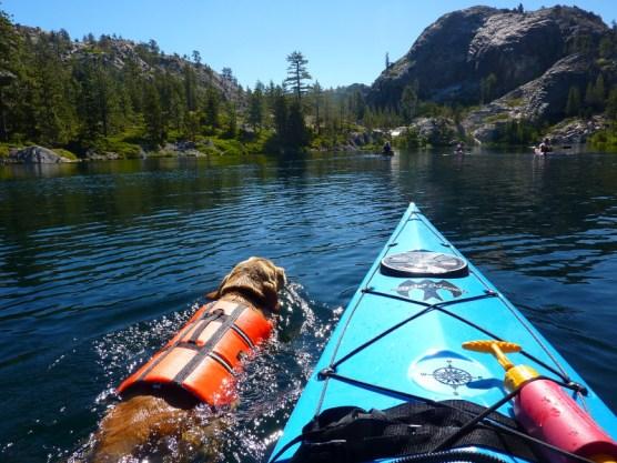 swimming along my kayak
