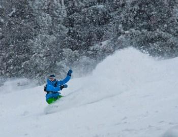 Snowboarding at the Grand Targhee Resort in Wyoming