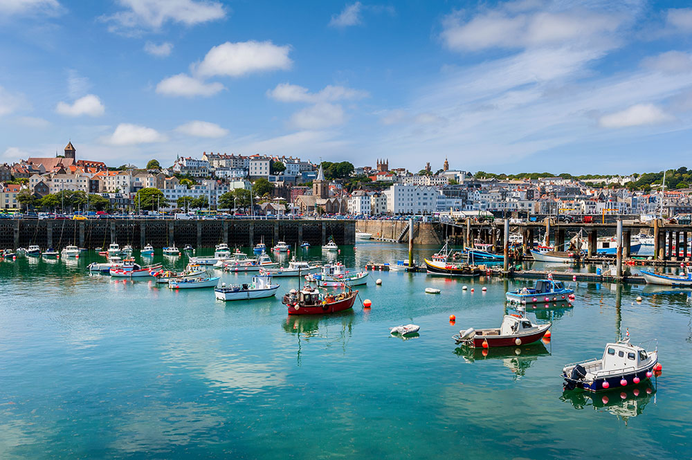 Harbour and Skyline of Saint Peter Port of Guernsey