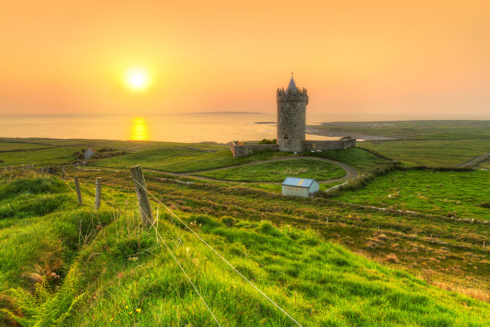Coast of Co. Clare at sunset in Ireland